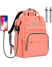 Diaper Bag Backpack - KeePaI Multifunction Waterproof Maternity Nappy Backpack with Insulated Pockets,Stroller Straps - Large Capacity Baby Travel Diaper Backpack with Built-in USB Charging Port,Perfect for Baby Care - Pink