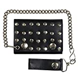Hot Leathers, SILVER STUDDED, Detachable Chain & Leather Belt Loop Snap, Bikers Tri-Fold Leather WALLET