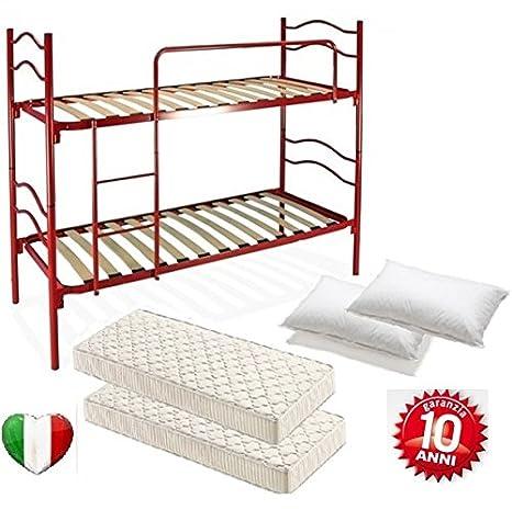 Cama a Castillo Rojo con Red a láminas completo de 2 colchones y 2 almohadas: Amazon.es: Hogar