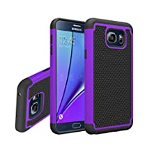 Galaxy Note 5 Case, Gefee® Hybrid Hard Cover [Drop Protection] Printed Design Pc+ Silicone Hybrid High Impact Defender Case Combo Hard Soft Case Cover for Samsung Galaxy Note 5 (Purple)