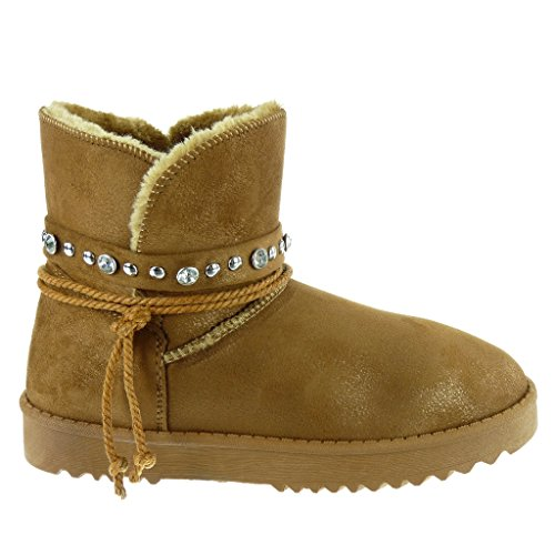 Angkorly - Zapatillas Moda Botines Botas de nieve mujer tachonado cuerda strass Talón tacón plano 3 CM Camel