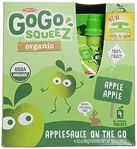 GoGo SqueeZ Organic Apple Sauce - Apple Apple - 3.2 oz - 4 pk