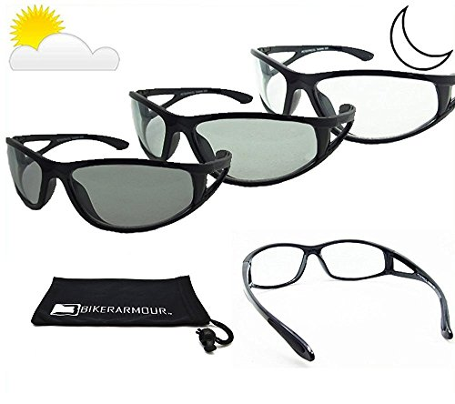 Transitional Light Adjusting Sunglasses with Side Shield. Safety Polycarbonate Photochromic Lenses. - Light Adjusting Glasses Motorcycle