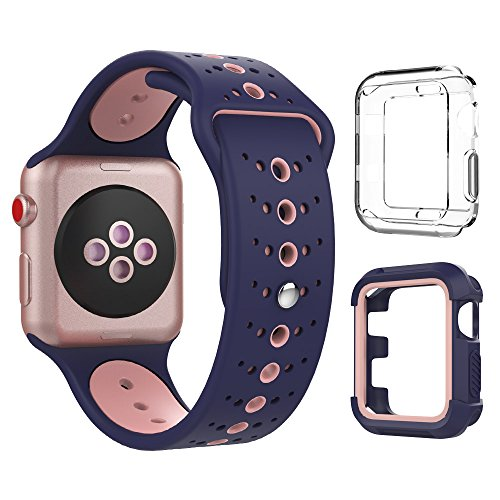 Bracelet Style Unisex Watch - Band with Case for Apple Watch 38mm, Breathable Silicone Replacement Band Sport Straps with 2 Shock-Proof Cases for Apple Watch Series 1/2/3/Nike+ Sport Edition, Blue Pink