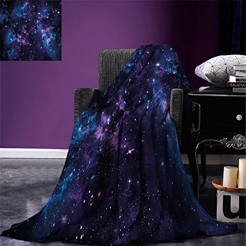 smallbeefly Space Throw Blanket Mystical Sky with Star Clusters Cosmos Nebula Celestial Scenery Artwork Warm Microfiber All Season Blanket for Bed or Couch Dark Purple and Blue (Throw Celestial Blanket)