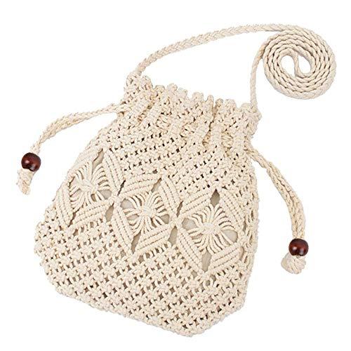 (HIKEL Women Bucket Woven Bag Straw Shoulder Bag Drawstring Hobo Beach Travel Bag, Crossbody Bag Lady Small Bags (Beige))