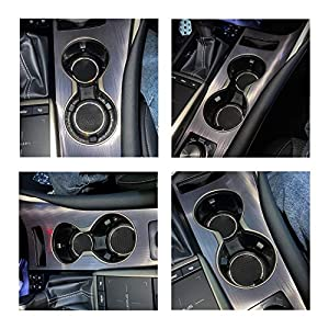 JUSTTOP Car Cup Holder Coaster, 2 Pack Universal Auto Anti Slip Cup Holder Insert Coaster, Bling Crystal Rhinestone Car Interior Accessories-Black (Color: Black)