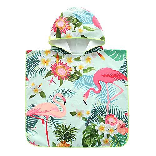 Echolife Kids Cartoon Flamingo Hooded Beach Bath Towel Cotton Bathrobe for Boys Girls 1 to 7 Years Large Microfiber Ultra Soft Quick Dry Poncho Cape (Flamingo)