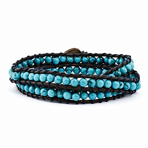 ICE CARATS 4mm Dyed Blue Turquoise Leather Link Cord Multi Wrap Bracelet Adjustable Stretch (Turquoise Sterling Silver Charm)