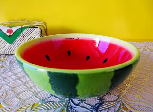 Yamu Hand Painted Fruit Bowl Salad Cute Bowl (1pcs, - Watermelon Fruit Bowl
