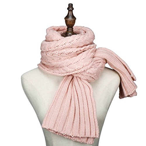 Winter Fashion Thick Knitted Scarf ,RiscaWin Thick Cable Knit Wrap Chunky Warm Long Scarf (Pink)