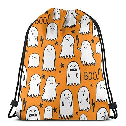 Ghost Orange Halloween_3102 3D Print Drawstring Backpack Rucksack Shoulder Bags Gym Bag for Adult -