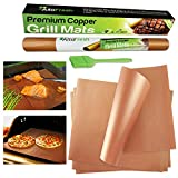 xl bbq grill mat - AltoFresh Copper Grill & Bake Mats with Silicone Oil Brush Set of 4 | Best Non-stick, Easy to Clean, Reusable Grill Mats | Great for BBQ Grilling & Baking on Gas, Electric, and Charcoal Grills