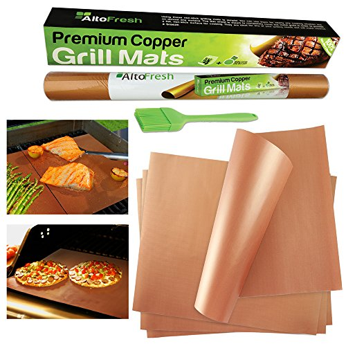 4 Premium BBQ Copper Grill Mats with Silicone Oil Brush | The Ultimate Non-stick, No Mess, Dishwasher Safe Grill Mat | Perfect for Grilling, Baking & Barbecue on Gas, Electric, and Charcoal Grills