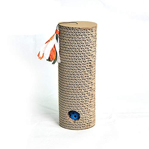 RABILTY Pet Toy Cylindrical Belt Bell Ball Puzzle Cat Claws Corrugated Paper Cat Scratch Board. (Color : Brown) ()