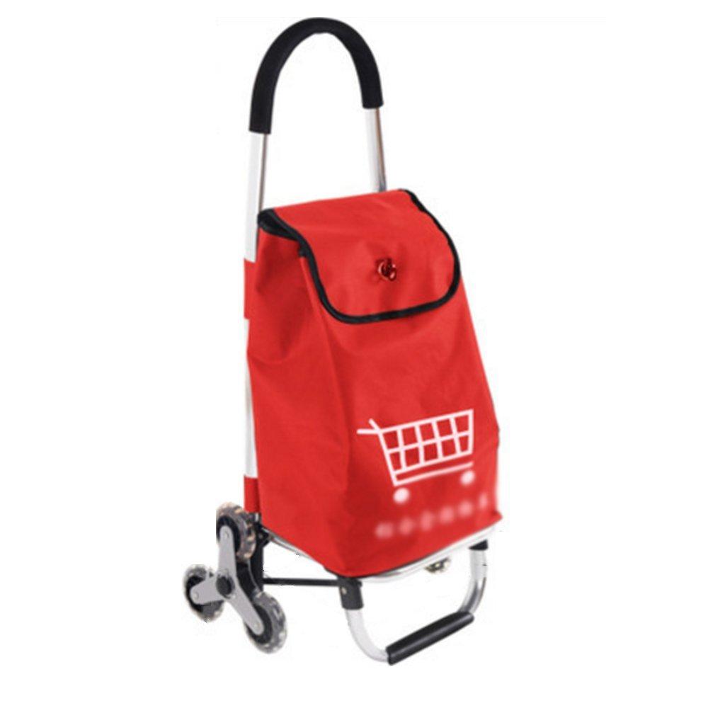 ZR-ショッピングカート 小さなショッピングカートのカートホーム階段のハンドカート大きな折り畳みトロリー車ポータブルトレーラー古いショッピングカート91 * 42 * 17センチメートル -ショッピングと持ち運び (色 : Red) B07FMVFWPF  Red