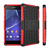 Yakamoz Hybrid Dual Layer Tough Rugged Protective Defender Armor Case Cover with Stand for Sony Xperia Z3 with Free Screen Protector & Stylus Pen(Red)