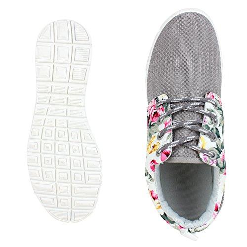 napoli-fashion Flache Unisex Damen Herren Laufschuhe Profilsohle Sportschuhe Schnüren Sneakers Freizeitschuhe VanHill Grau Blumen