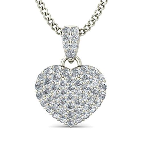 14K Or blanc 0,33CT TW Round-cut-diamond (IJ | SI) Amour Pendentif