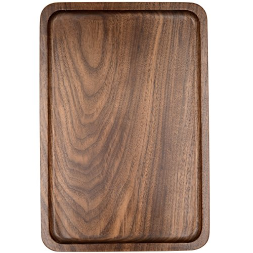 Tray Rectangular Wooden (Bamber Wood Serving Tray, Whole-piece Black Walnut Made, Rectangular, 13.4 x 9 Inches)