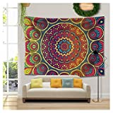RAISEVERN Tapestry Wall Hanging Color Flower Hippie Tapestry Mandala Bohemian Dorm Decor Psychedelic Tapestry Wall Hanging Ethnic Decorative Hippie Tapestry(Mandala,59.1''X78.7'')