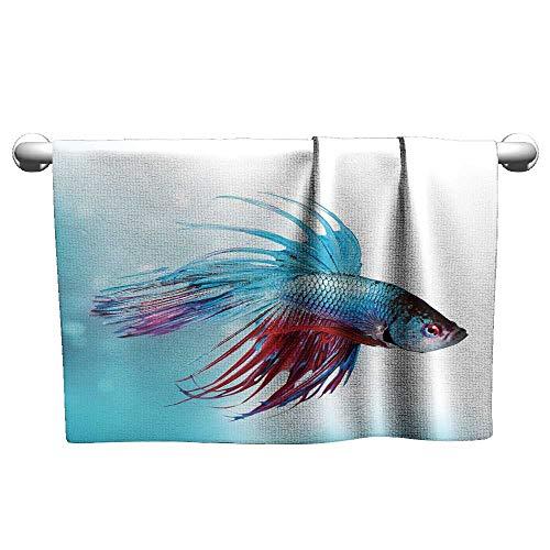 xixiBO Pattern Towel W28 x L14 Aquarium,Siamese Fighting Betta Fish Swimming in Aquarium Aggressive Sea Animal,Sky Blue Dark Coral Quality Bath Towel (Tank Light Car Coors)