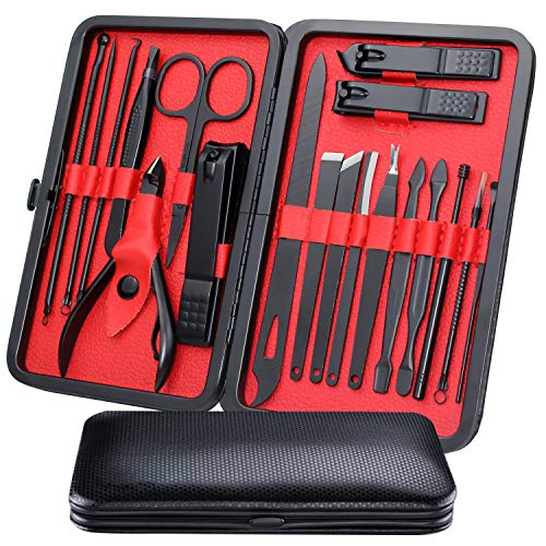 Mens Manicure Set - WoneNice 19pcs Professional Nail Clipper Kit & Pedicure Kit Set with Case for Travel