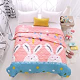 KFZ Summer Quilt Comforter Bedspread Bed Breathable BDD 4 Sizes Cartoon Animals Rabbit Giraffe Bear Pretty Flamingo Designs Children Adult One Piece (Cute Rabbit,Pink, Kids,39''x59'')