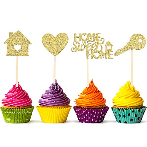 55 Pieces Home Sweet Home Cupcake Toppers Gold Glitter Home Cupcake Toppers New House Housewarming Cupcake Toppers Welcome New Home Party Decorations