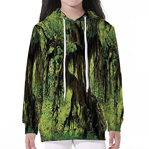 Unisex Child Hoodie,Rainforest Decorations,Tree with Moss in The Jungle Natural ()