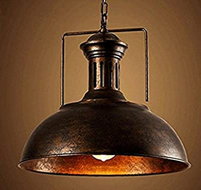 RUXUE Industrial Barn Pendant Light Rustic Dome Chandelier Lighting