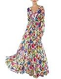 haoduoyi Womens Vintage Style Chiffon V Neck Puff Pleated Wrap Long Maxi Full-Skirted Dress, Medium, Multicoloured