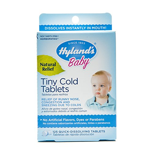 Hyland's Baby Tiny Cold Tablets, Natural Relief of Runny Nose, Congestion, and Occasional Sleeplessness Due to Colds, 125 Quick-Dissolving Tablets Homeopathic Remedy Runny Nose