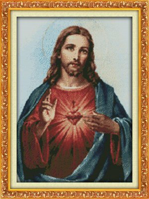 Joy Sunday Cross Stitch kits, Sacred Heart(1),11CT Counted, 44cm×60 or 17.16×23.4 NKF