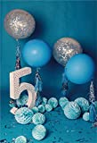 CSFOTO 6.5x8ft Birthday Backdrop 5 Years Old Photography Background Anniversary Celebration Ballon Paper Lanterns Ornament Children Girl Portrait Photo Booth Studio Video Props Shoot Wallpaper