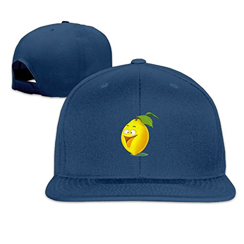 Odr KOPWIEA Men's Yellow Cartoon Lemon Funny Basketball Navy Caps Hats Adjustable Snapback