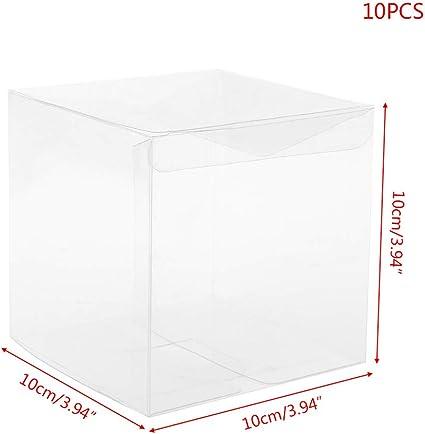 LyGuy Caja de Regalo, 10 Piezas de plástico PVC Transparente cubeta Pastel Boda Favor Regalo Cajas de Caramelos Bolsa de Fiesta 2#: Amazon.es: Hogar