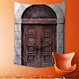 aolankaili Tapestry Mystic House Decor,Arched Wooden Venetian Door with Islamic Royal Ottoman Elements European Culture Decor Brown Bedroom Living Room Dorm Wall Hanging Tapestry