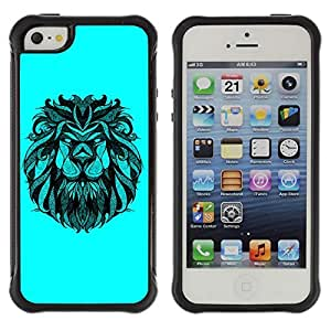 Hybrid Anti-Shock Defend Case for Apple iPhone 5 5S / Majestic Lion