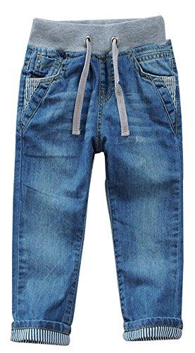 Toddler Kid Boy Elastic Mid Waist Washed Full Length Straight Pants Denim Jeans