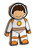 Spaceman Shelfie Space Toy White and Orange Wooden Freestanding Shelf Decoration Space Toy for Space Astronaut and Rocket Kids