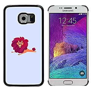 Be Good Phone Accessory // Dura Cáscara cubierta Protectora Caso Carcasa Funda de Protección para Samsung Galaxy S6 EDGE SM-G925 // Lion Big Wild Cartoon Drawing Red Safari Art