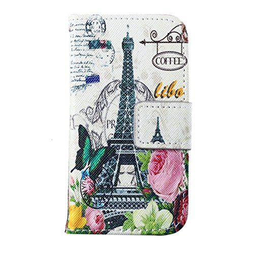 ZeWoo Folio Ledertasche - F005 / Coffee Paris Tower - für Apple iPhone 4 4G 4S PU Leder Tasche Brieftasche Case Cover