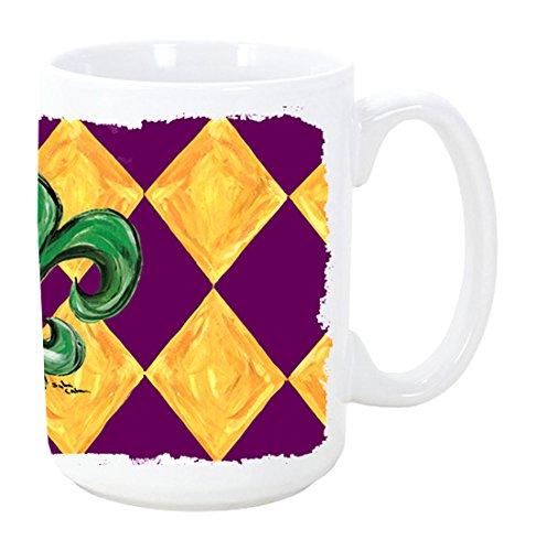 - Caroline's Treasures 8133CM15 Mardi Gras Fleur De Lis Purple Green And Gold Microwavable Ceramic Coffee Mug, 15 oz, Multicolor