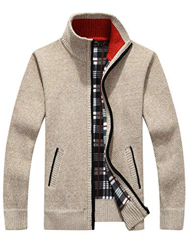 Liengoron Men's Casual Slim Full Zip Thick Knitted Cardigan Sweaters with Pockets (Khaki, ()