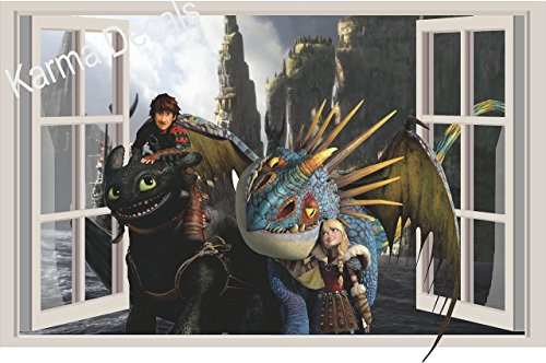 (How to train your dragon Astrid and Stormfly Hiccup and toothless Movie 3D Wall Decal Sticker 18