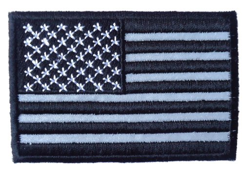 Velcro Reflective Black - White American US Flag Army Patch