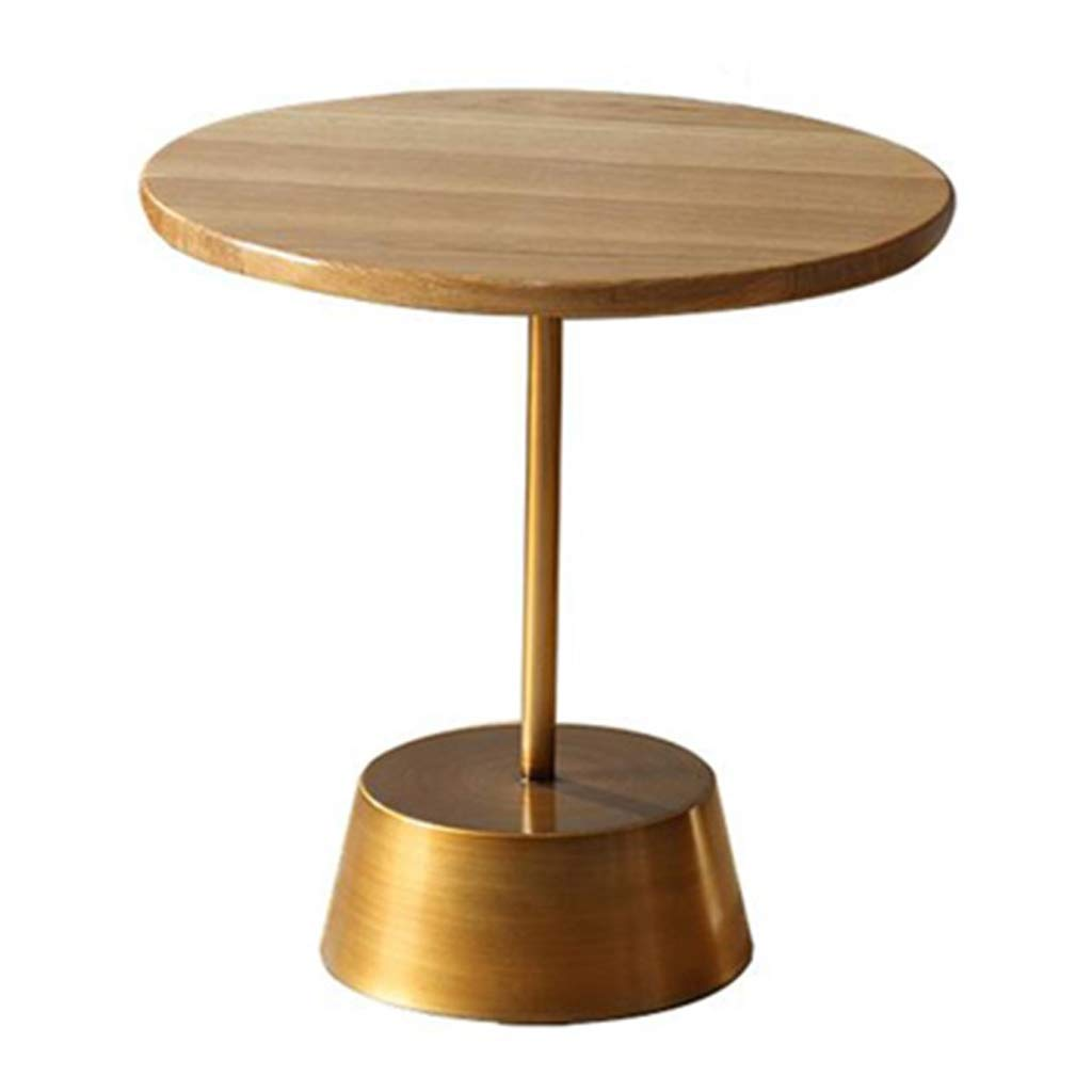 LQQGXLBedside Table Round Wooden Side Table Metal Pillar Living Room Bedroom Shaped Coffee Table Small Side Table (Size : 45×45×46cm) by LQQGXL