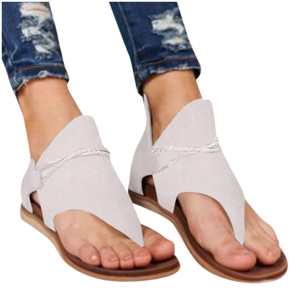 Womens Posh Gladiator Sandals Summer Clip-Toe Shoes Comfy Vintage Flip Flop Flat Sandals Casual Beach Sandals