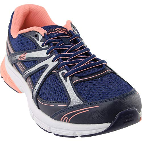 AVIA Women's avi Rise Running Shoe, Grotto Navy/Soft Coral/Chrome Silver/White, 7.5 M US